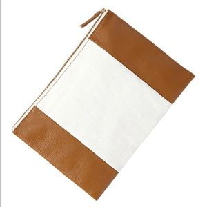 👝Two Tone Linen and Leather Clutch Purse👝